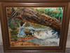 Patty Ciyne? Or Cujne? Oil/canvas Scene Of Girl At Waterfall, 24 X 30, Frame Size Is 32 X 38