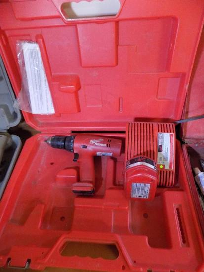 Milwaukee Cordless Drill 14.4V, with extra charger and flashlight