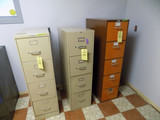 (3) Four and Five-Drawer File Cabinets