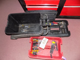Tool box, cresent wrenches, drivers, channel locks and pliers