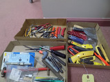 (3) Boxes of putty knives, [pliers, and punches