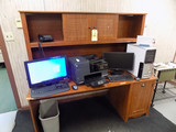File cabinet and wood desk 6ft wide (contents not included)
