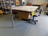 Worktable 5ft x 9ft and chairs, workbench with shelves 3ft x 8ft (contents not included)