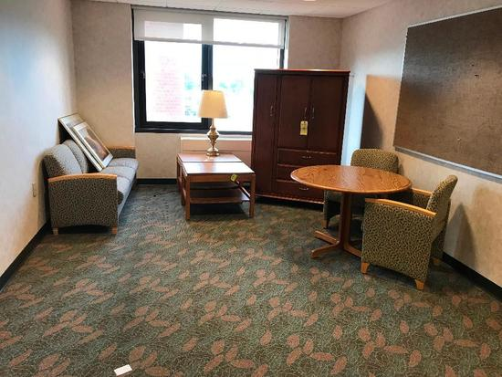 Contents Of Waiting Room: Entertainment Center - Sofa - End Tables - Desk Chairs - Pictures