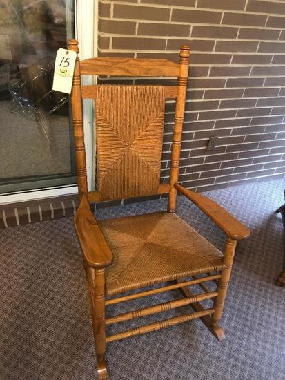 large oak wicker rocker