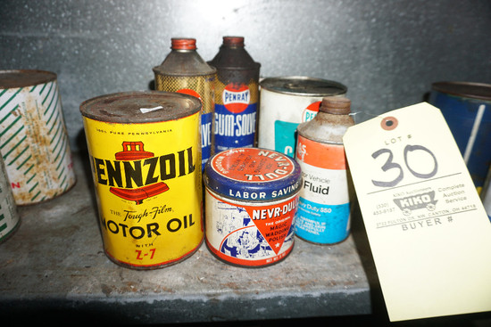 (6) Assorted oil/fluid cans