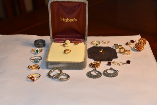 Rings, earrings and Higbees necklace