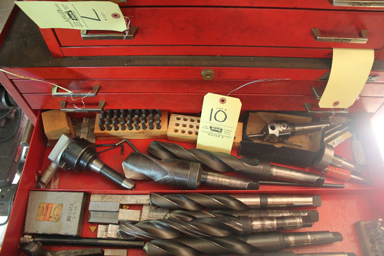 Contents Of Drawer Including Morris Tapered Drill Bits, Boring Bars, Tap And Die, Letter Stamps