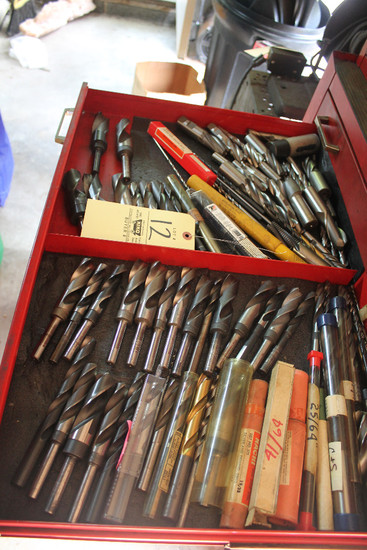 Contents Of Drawer Including Assorted Drill Bits, End Mills