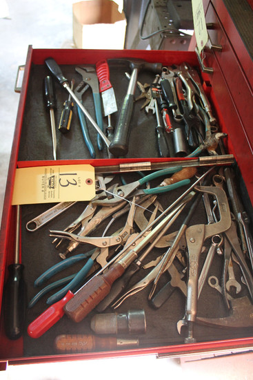 Contents Of Drawer Including Assorted Pliers, Wrenches, Screwdrivers