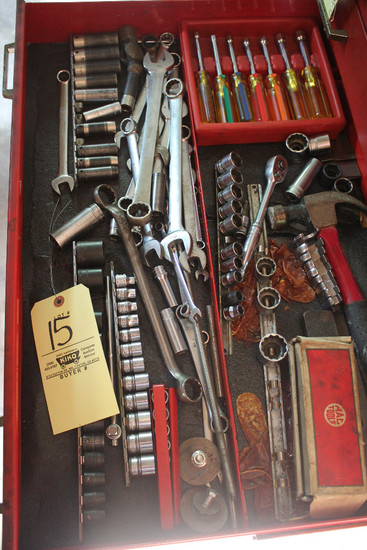 Contents Of Drawer Including Nut Drivers, Snap-On Wrenches, Snap-On Sockets, Snap-On Ratchet