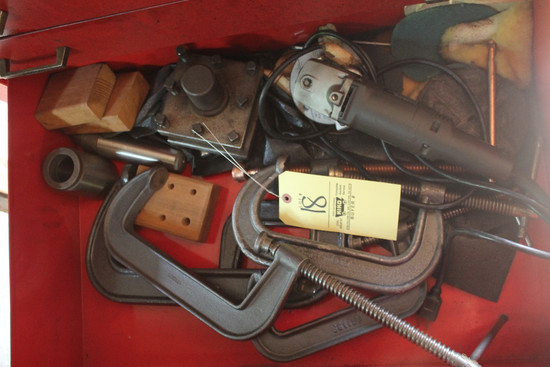 Contents Of Drawer Including Angle Grinder, C-Clamps
