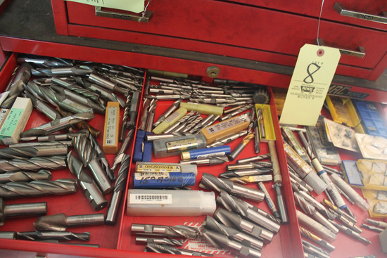 Contents Of Drawer Including Large Lot Of Assorted End Mills, Carbide Inserts