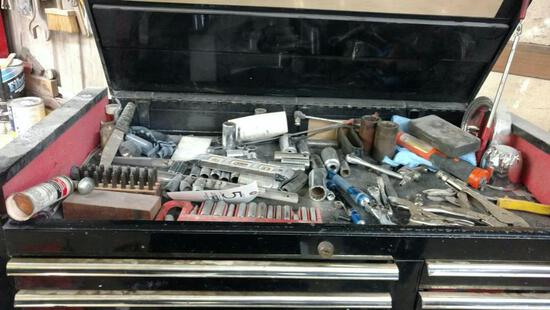 content of tool cabinet top. Including letter stamps, sockets, wrenches, pliers, vice grips