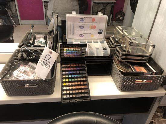 Assorted Makeup , Brushes, Eyelashes Etc