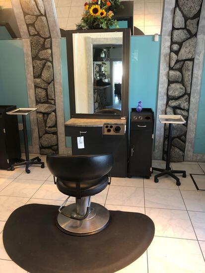 Salon Work Station w/ chair, Mat, rolling tool organizer & work Tray