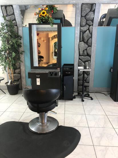 Salon Work Station w/chair, Mat, rolling tool organizer & work Tray