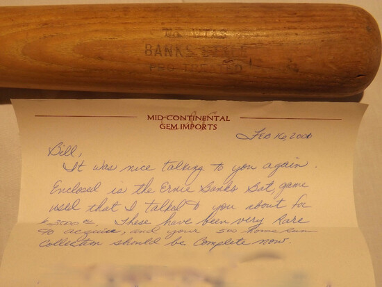 "ERNIE BANKS HANNA BAT-RITE BAT, MARKED ""No WTAS BANK  STYLE, PRO TREATED"". 33"" LONG"
