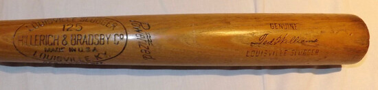 "TED WILLIAMS H&B LOUISVILLE SLUGGER 125 BAT, MARKED  ""POWERIZED, GENUINE SIGNATURE MODEL W183"""