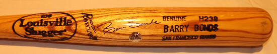 "BARRY BONDS LOUISVILLE SLUGGER 125 BAT, MARKED  ""POWERIZED, GENUINE H238"