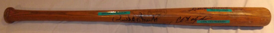 "HALL OF FAMERS GROUP SIGNED H&B BAT, 28 3/4"" LONG"