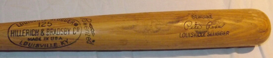 "PETE ROSE H&B LOUISVILLE SLUGGER 125 BAT, POWERIZED, GENUINE SIGNATURE MODEL, MARKED ""S2"""