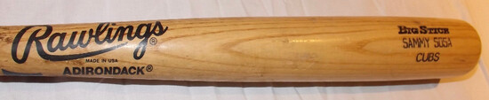 SAMMY SOSA RAWLINGS ADIRONDACK BIG STICK BAT, CUBS MODEL