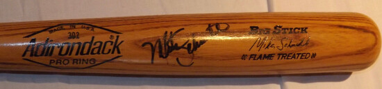 MIKE SCHMIDT ADIRONDACK #30 PRO RING BAT, BIG STICK, FLAME TREATED, SIGNATURE MODEL. AUTOGRAPHED