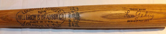 LOU GEHRIG H&B LOUISVILLE SLUGGER 125 BAT, MARKED  POWERIZED. 1933 ERA