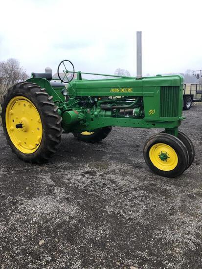 John Deere 50 tractor, restored, new tires, ser. #5016727