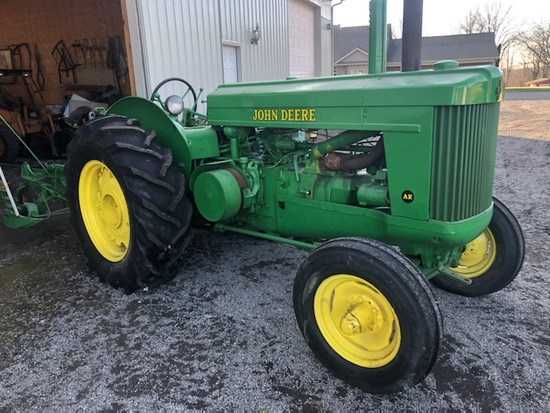 John Deere AR Tractor, restored, Ser #275770, sells with JD cutterbar mower