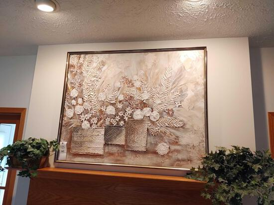 Textured Painting On Canvas Signed By Stephen Kays & 2 Artificial Plants