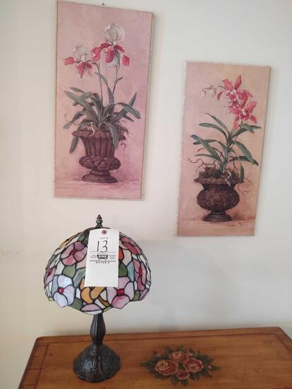 Leaded Glass Lamp & 2 Barbara Mock Floral Pictures