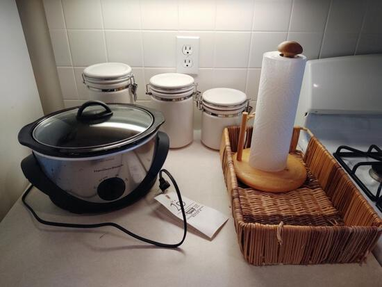 Hamilton Beach Crockpot, Canister Set, Basket, Paper Towel Holder