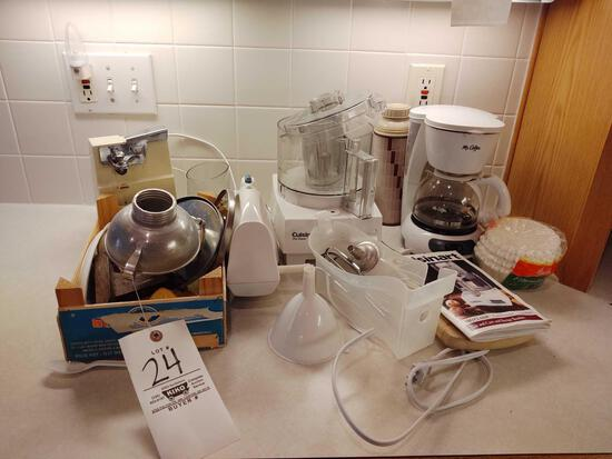 Cuisinart Food Processor, Mr. Coffee Pot, Can Opener & Utensils