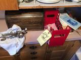 Bread box, cookbooks, flatware