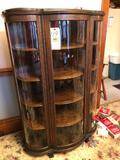 Oak curio cabinet - 56? tall 38? wide