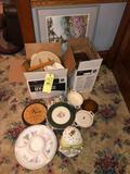 Print, Pie dishes, misc glassware, cookie jar
