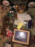 Printers drawer, dolls, misc