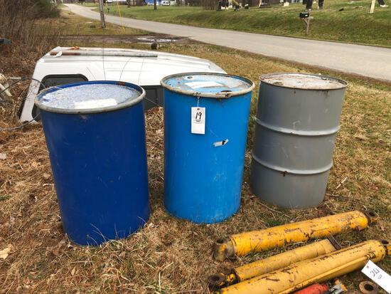 (3) metal barrels