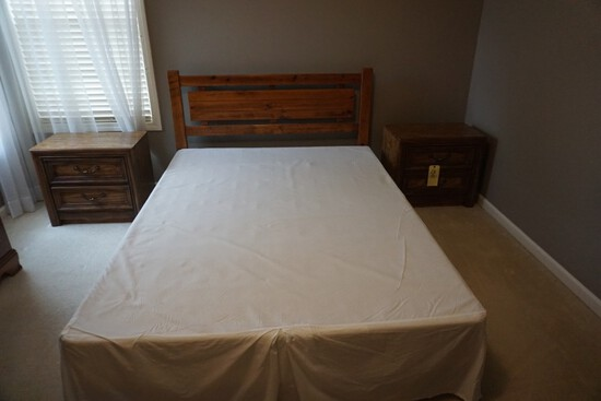 Full size bed w/ boxspring - (2) Nightstands
