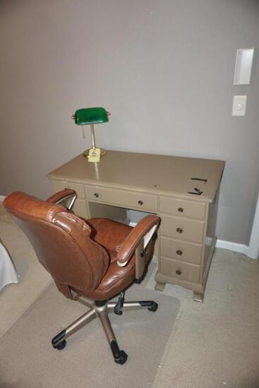 Desk - Leather office chair - Desk lamp