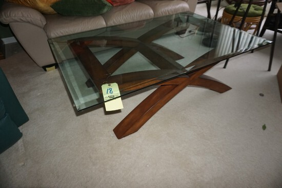 Modern glass-top coffee table