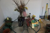 Patio table - 1 chair - Vases - Coffee pot