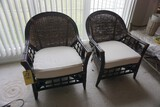 (2) Wicker-back chairs