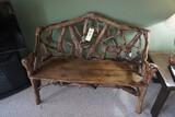Driftwood style plank-bottom bench