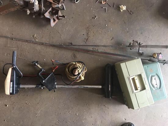 MinnKota 65 Trolling Motor 28lb thrust 5 spd-Anchor-Fishing Poles- (2) empty Tackle Boxes