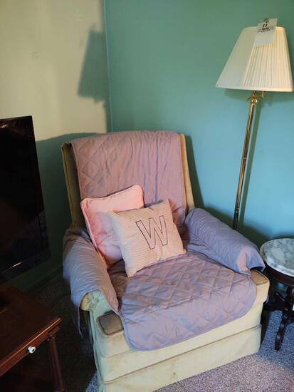 Upholstered Chair & Floor Lamp