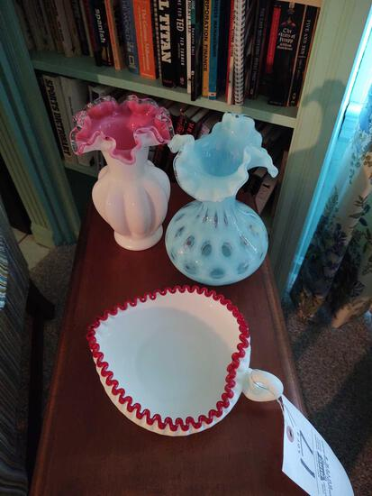 2 Silvercrest Vases & Heart-Shaped Candy Dish