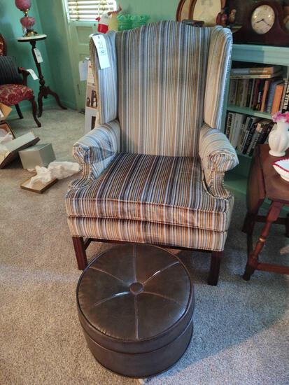 Striped Upholstered High-Back Armchair w/ Foot Stool